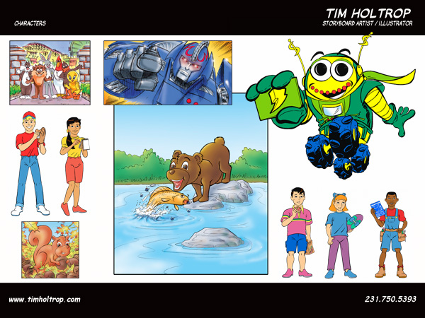 Art samples by storyboard artist, Tim Holtrop -- characters