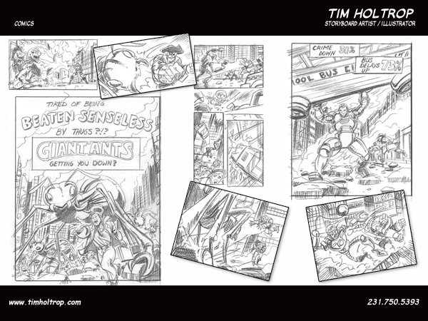 Art samples by storyboard artist, Tim Holtrop -- comic book