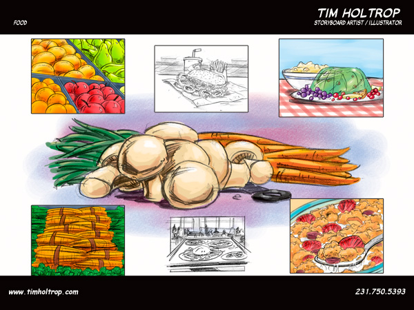 Art samples by storyboard artist, Tim Holtrop -- food