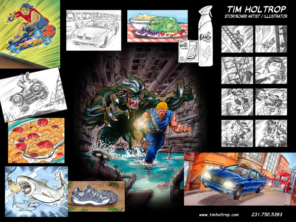 Art samples by storyboard artist, Tim Holtrop