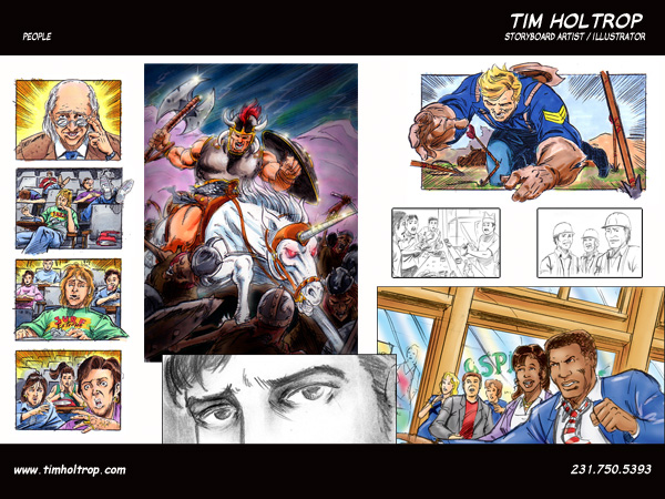 Art samples by storyboard artist, Tim Holtrop -- people