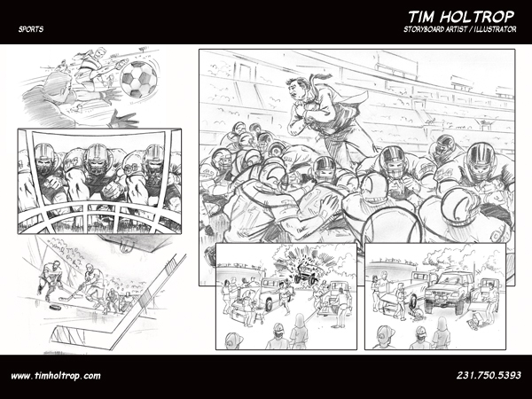 Art samples by storyboard artist, Tim Holtrop -- sports