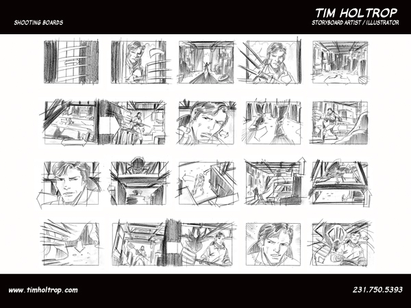 Art samples by storyboard artist, Tim Holtrop -- shooting boards